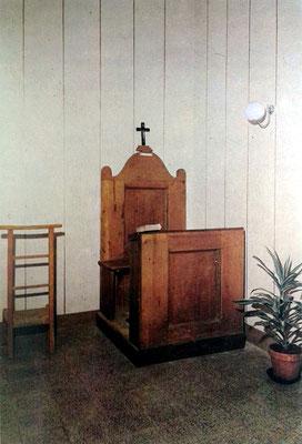 Il confessionale della Cappella interna, adoperata dal Padre per confessare i suoi confratelli