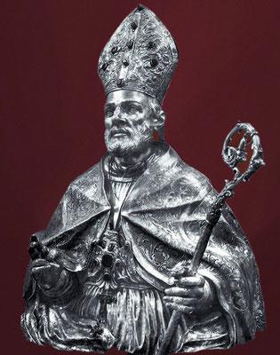 Il busto argenteo di S. Pardo, opera di argentieri napoletani, donato dal vescovo di Larino mons. Giuseppe Catalani (1686-1703) [fine XVII sec.]