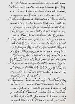 Contratto di cessione dell'uso della Chiesa conventuale fatto dal vescovo di Larino, mons. di Milia, alla Provincia cappuccina di S. Angelo, nella persona del padre Pio Nardone da Fragneto l'Abate, suo Commissario generale, 3ª pagina (30 settembre 1901)