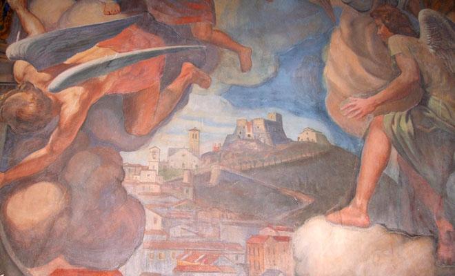 """AMEDEO TRIVISONNO, Campobasso ai piedi del Monte, particolare del """"Coro degli angeli"""" (1945), affresco. Campobasso, chiesa di Maria SS. Incoronata del Monte [foto A. Vinciguerra]"""