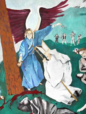 «Il Santo Padre, prostrato in ginocchio ai piedi della grande Croce venne ucciso da un gruppo di soldati che gli spararono vari colpi di arma da fuoco e frecce ...»