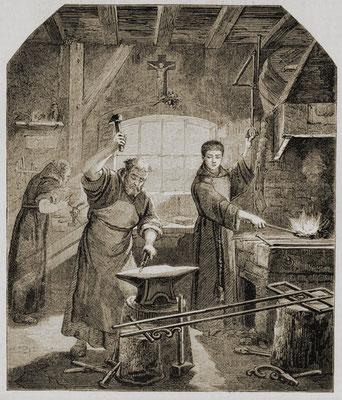 Ch. CRAUK, Padri Cappuccini, del Convento della Redenzione a Venezia, forgiano una croce (XIX sec.), incisione