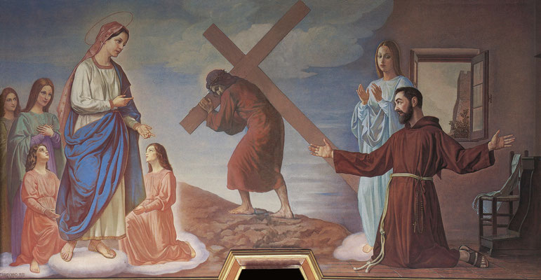 """AMEDEO TRIVISONNO, """"L'Apparizione della Madonna del Monte a Fra Pio"""" (1972). Campobasso, chiesa di Santa Maria del Monte, stanza di Fra Pio da Pietrelcina. L'Apparizione avvenne il 15 agosto 1905"""