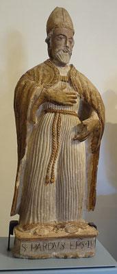"""S. Pardo vescovo, scultura dipinta (XV-XVI secc.). Lucera, Museo di Archeologia Urbana """"G. Fiorelli"""" [foto W. di Pierro]"""