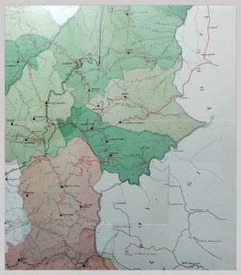 """""""Carta della viabilità della Provincia di Campobasso"""" in scala 1:100.000 (1895); le strade e le ferrovie in costruzione - contrassegnate dal tratteggio- furono tutte ultimate negli anni di permanenza di Fra Pio nel territorio molisano"""