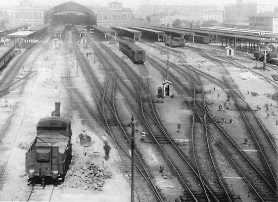 I binari della Stazione Termini di Roma, come si presentava agli inizi del Novecento. La costruzione venne iniziata nel 1868 e portata a conclusione nel 1874