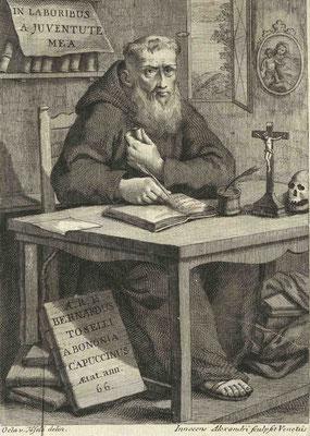 I. ALESSANDRI, padre Bernardo Toselli da Bologna cappuccino (seconda metà XVIII sec.), incisione