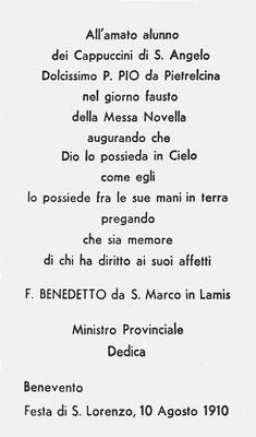 """La dedica di padre Benedetto Nardella al novello sacerdote, stampata nel """"ricordino"""", da lui composta per l'occasione della sua ordinazione sacerdotale"""