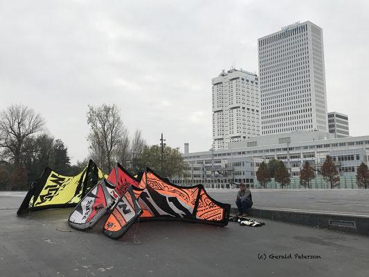 Kitesurfer drying his kites