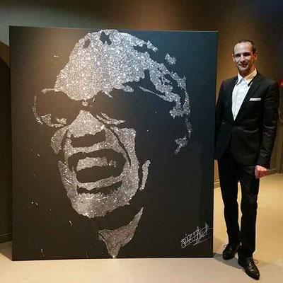 Portrait Glitter Painting de Ray Charles - Évènement d'entreprise - Paris