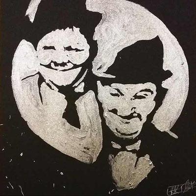 Tableau live de glitter painting - Laurel et Hardy - Anniversaire soirée privée - Casablanca - Maroc