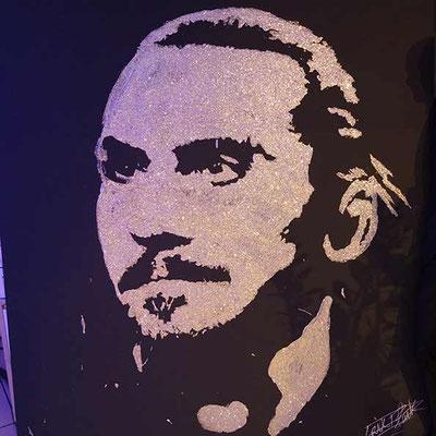 Portrait glitter painting de Zlatan Ibrahimovic lors d'une inauguration d'entreprise. Toulouse - France