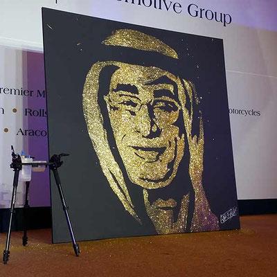 Portrait personnalisé paillettes or - soirée d'entreprise - Doha - Qatar