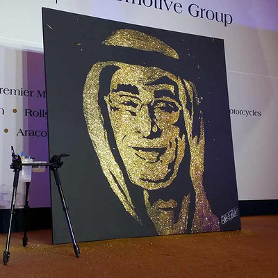 Bespoke glitter portrait by EriK BLACK french performer  - Corporate event - Doha - Qatar