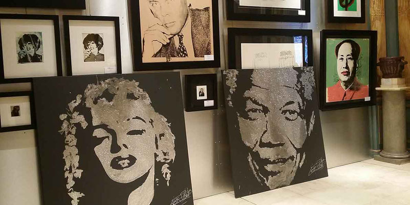Marilyn and Mandela by EriK BLACK among the works of Warhol - Adriano Ribolzi Gallery - Monaco
