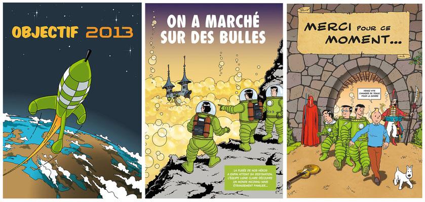 carte de voeux d'après Hergé [cabinet d'Experts Comptables]