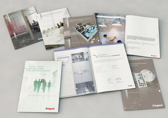 Brochures Legrand [création, D.A., illustrations   agence Point Carré]