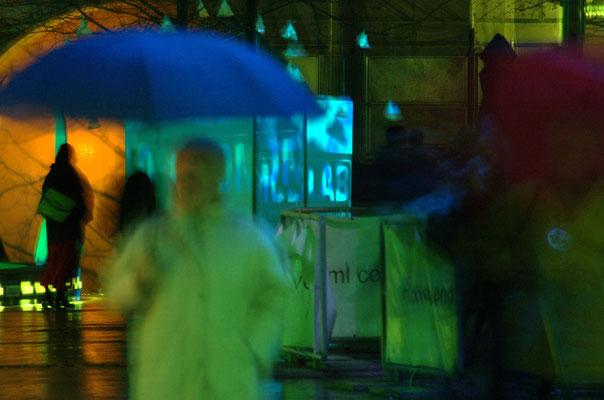 Lichtinstallation anlässlich der Luminale bei der Frankfurter Welle