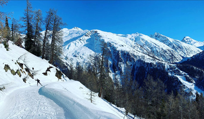cross-country skiing in Goms
