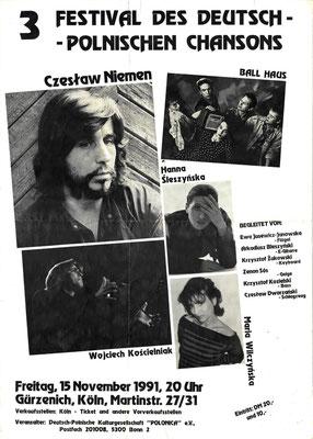 Plakat:  03. Chansonfestival 1991