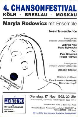 Plakat:  04. Chansonfestival 1992