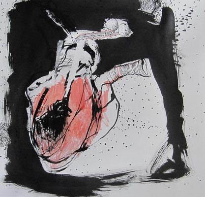 Gehemmter Impulsgeber, Tusche auf Papier, 31,5 x 29,5 cm, 2017