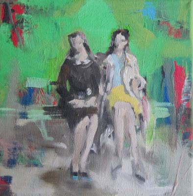 Natur mit Frauen, 2016, 20 x 20 cm, Acryl und Öl auf Leinwand