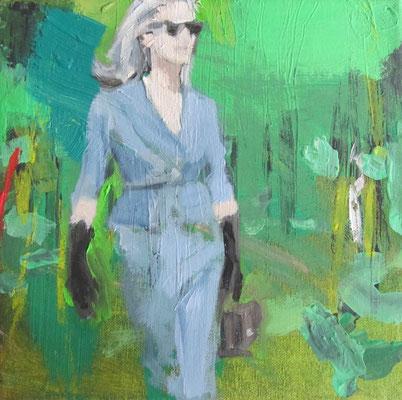 Frau vor Natur I, 2016, 20 x 20 cm, Acryl und Öl auf Leinwand