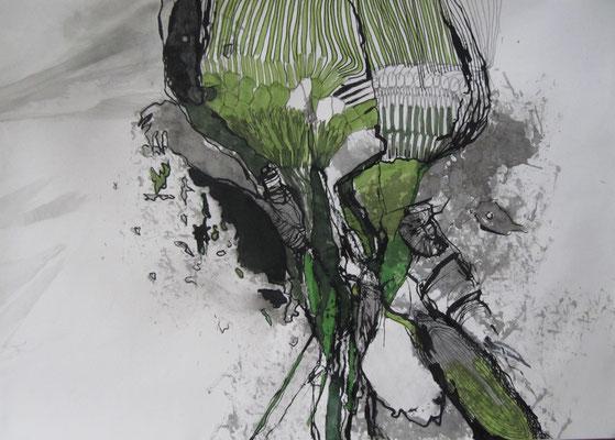 Natürlicher Zwiespalt, Tusche auf Papier, 42 x 29,5 cm, 2017