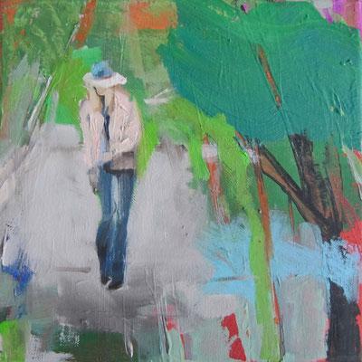 Natur mit Frau, 2016, 20 x 20 cm, Acryl und Öl auf Leinwand