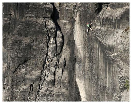 Kletterer in der Knirpelwand am Hohen Torstein
