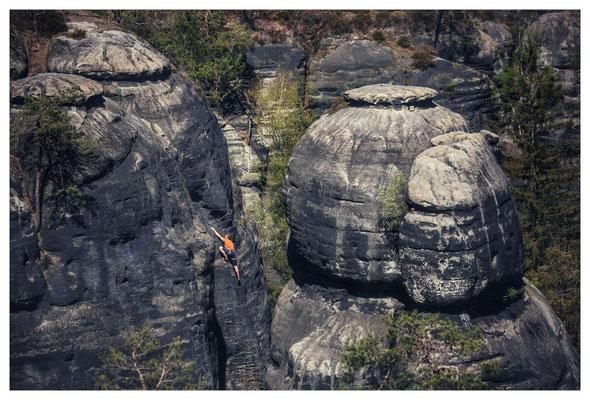 Kletterer an den Hafersäcken