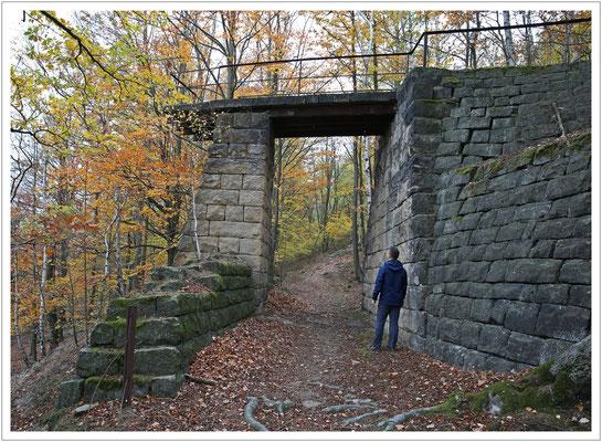alte Abraumschüttbrücke in einem Sandsteinbruchgebiet der Sächsischen Schweiz