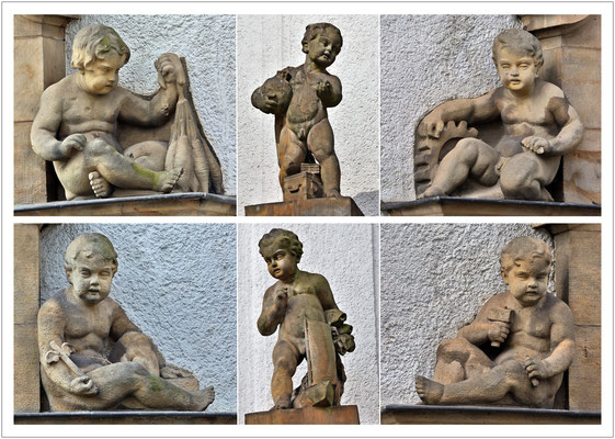 Sandsteinfiguren an der Sparkasse