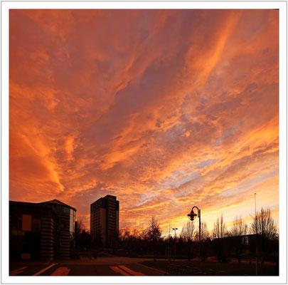 Sonnenuntergang über'm Plattenbau