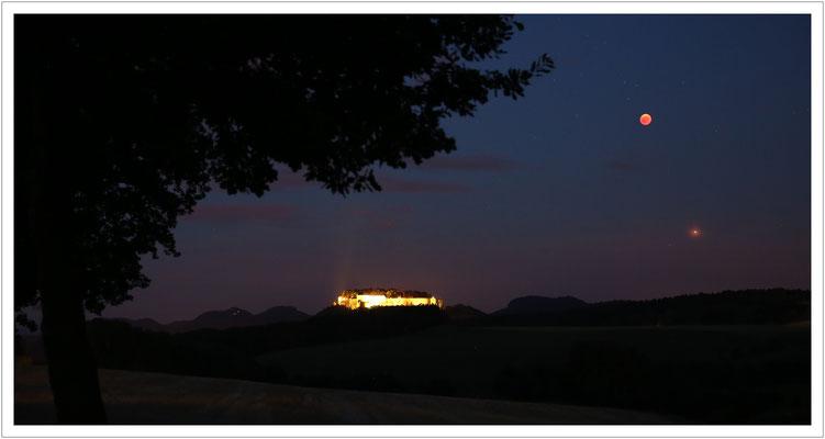 Festung Königstein, Blutmond und Mars - die Kombination kommt so schnell nicht wieder