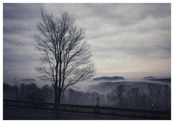 Morgennebel an der Panoramahöhe oberhalb von Bielatal