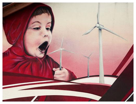 Wandmalerei an einem sächsischen Autobahnparkplatz