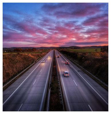 Highway Sunset...unterwegs auf der Autobahn Dresden - Prag