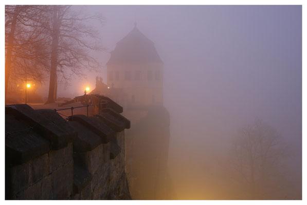 Nebelabend auf der Festung Königstein