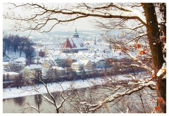 Blick auf das winterliche Pirna...
