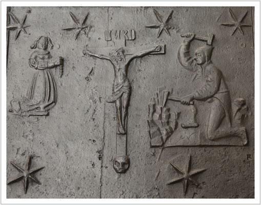 noch eine Ofenplatte - diesmal ein Detail einer etwa 500 Jahre alten Platte des bekannten Gießers Hans Rabe