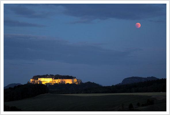 Blutmond und Festung Königstein - dieses Bild wollte ich haben