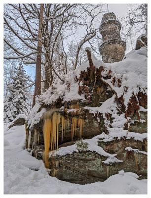 Eiszapfenzeit auf dem Pfaffenstein...