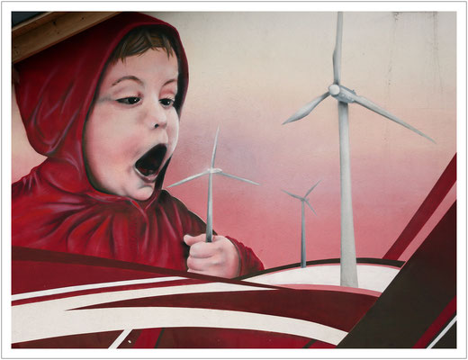 Energiewende - Wandmalerei an einem Rastplatz der A14 Richtung Leipzig