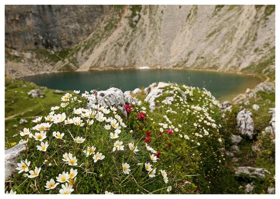 Lago di Boe an der Ostseite des Sellamassivs