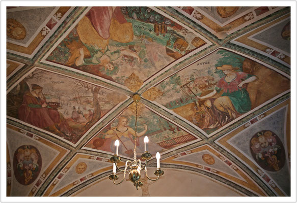 Deckenmalerei im Schloss Langburkersdorf
