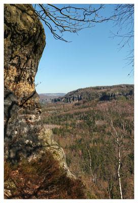 Aussicht am Saurier in den Schrammsteinen