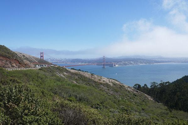 erster Blick auf die Golden Gate Bridge