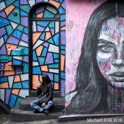 The girl with long brown hair - street art by DRT LONDON ( geometric nonsense ) &  ANT CARVER ( portrait )